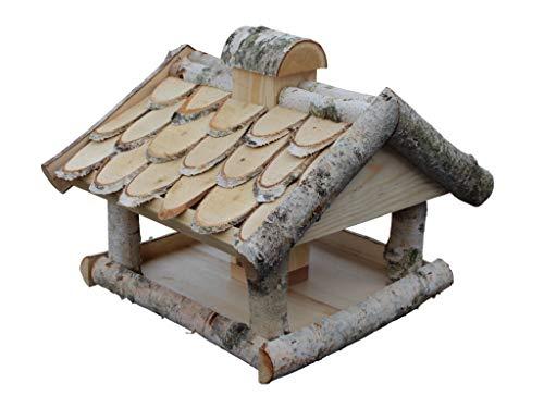 Damian-Wiklina Vogelhaus aus Birkenholz. Dach mit Birkenscheiben bedeckt