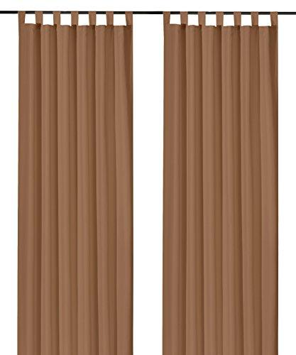 heimtexland ® Schlaufenschal Kräuselband Uni Nougat-Braun HxB 175x140 Blickdicht Lichtdurchlässig Vorhang ÖKOTEX Typ117