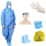 GOHNA PPE Safety Kit for Full Body Protection Non-Suffocating Comfortable made of SITRA approved Fabric Blue