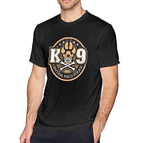 Camisetas K-9 Unit Central Falls Police Camisetas de Manga Corta con Cuello Redondo de algodón de Moda Simple para Hombre