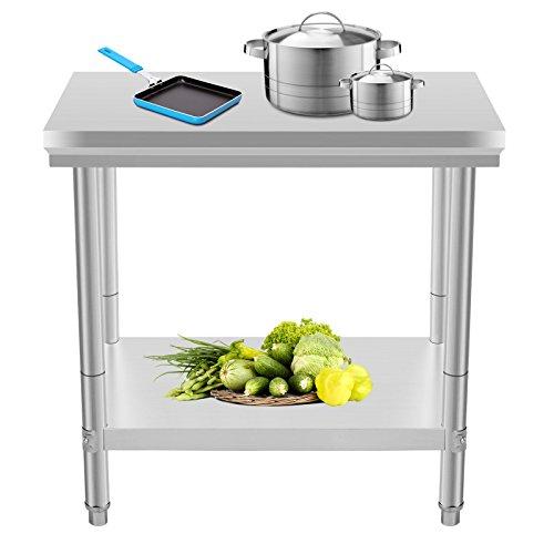 Oldriver 60x90x80cm Tavolo da Lavoro per Cucina Professionale Acciaio Inox Cucina Catering Tavolo da Lavoro per Cucina in Acciaio Inox