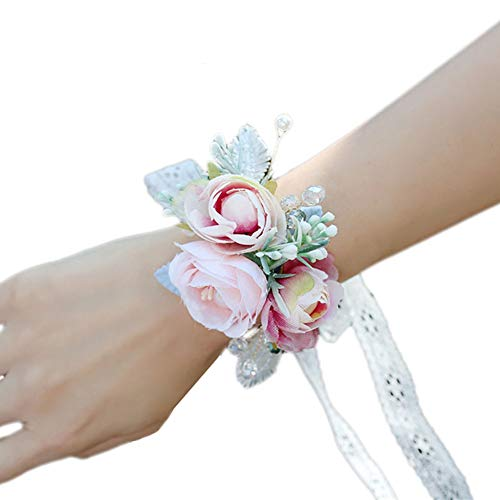 MYWv Polscorsage Bal van de Partij Wedding Flower Hand Decoratie Lace Ribbon armband handgemaakt (Color : Pink, Number : 3 pcs)