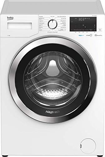 Beko WMY91466AQ1 Waschmaschine/AQUATECH/XL-Chromtür/Bluetooth/Dampffunktion/Nachlegefunktion/Watersafe+/ 9 kg/ Energieklasse A