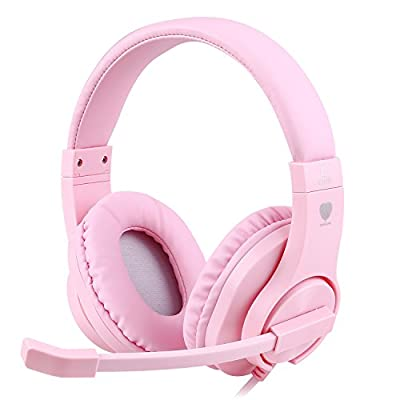 BlueFire Gaming Headset Kids with Microphone, 3.5mm Wired Comfortable Bass Stereo Volume Control for PS4/Xbox One/Xbox One S/Xbox One X/Nintendo Switch/PS4 Slim/ S4 Pro/PC/Computer/Phones(Pink) from BlueFire