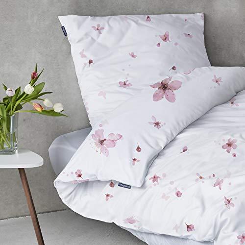 """sleepwise \""""Soft Wonder-Edition Bettwäsche (White/Pink Flower, 135 x 200 cm)"""
