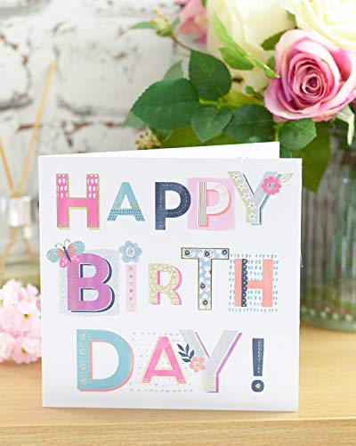 UK Greetings Cute Birthday Card For Her - Friend Birthday - Female Birthday - Floral Birthday Card