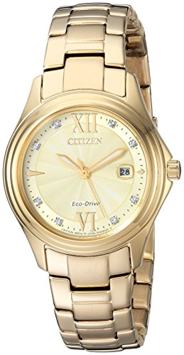 Citizen Women's Quartz Stainless Steel Casual Watch, Color:Gold-Toned (Model: FE1132-84P)