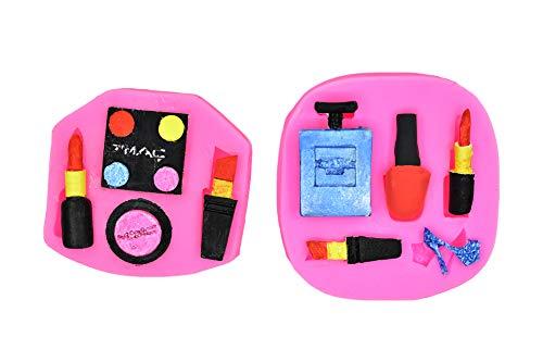 2 Stück Make-up-Werkzeug Silikonform Mini Frau lose Puder Lidschatten Lippenstift High Heel Parfüm...