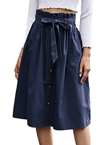 Naggoo Women Midi Skirts Spring Cute High Waist Belt Elastic Skirts Navy Blue Large