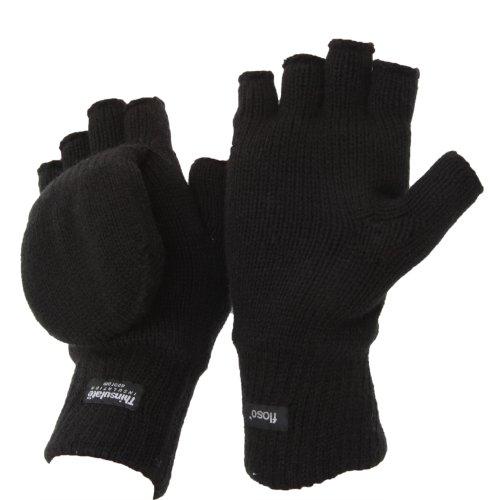Gants/mitaines à capuche thermiques unisexe de la marque FLOSO, en tissue Thinsulate (Taille unique) (Noir)