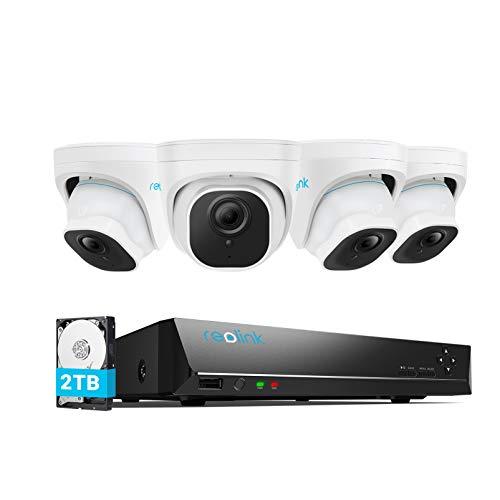 Reolink 5MP Kit Videosorveglianza IP Poe, Intelligente Rilevamento di Persone e Veicoli, 8CH 2TB 4K NVR e 4X 5MP Telecamera Esterno Impermeabile, Visione Notturna, Registrazione 24 7, RLK8-520D4-A