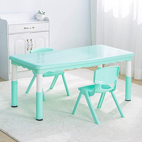 Juego de mesa y silla para niños, la mesa se puede subir y bajar, mesa de estudio para niños de plástico ajustable para el hogar, con 2 sillas, para leer, comer y jugar, resistente y duradera /