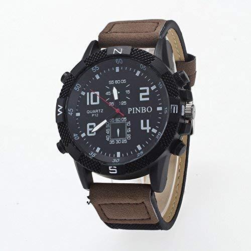 WLG Reloj de hombre de moda, reloj de estudiante, reloj de cuarzo, caja de 3 paquetes esfera redonda correa de cuero reloj de lona reloj de pulsera analógico de moda reloj de hombre,Café negro y oscu