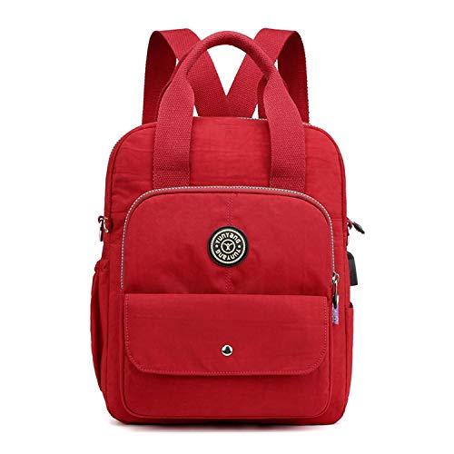 EVEOUT Mujer Casual Mochila Bolsa de Hombro Cartera Bolso para Viajar Trabajo Colegio Cámping (Rojo)