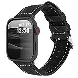 Fullmosa コンパチ Apple Watch バンド ベルト アップルウォッチバンド 42mm 44mm Fullmosa apple watch series6/5/4/3/2/1、SEに対応 バンド 本革レザー 交換バンド ラグ付き(ブラック 42mm/44mm)