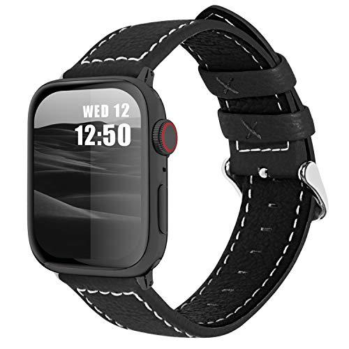 Fullmosa Cinturino per Apple Watch 44mm/42mm, Jan Cinturino in Pelle con Chiusura in Acciaio Inossidabile Compatibile con iWatch Serie SE 6 5 4 3 2 1, Nero, 44mm/42mm