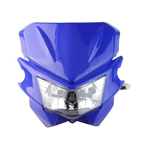 GOOFIT Motorcycle Dirt Bike Universal Headlights Fairing Light Headlamp For KX125 KX250 KXF250 KXF450 KLX200 KLX250 KLX450 Blue