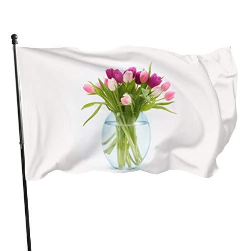 N/A Vlag 3x5 FtPasen Tulpen Bloemen Boeket In Een Vaas, Eenzijdige Tuinvlaggen voor Binnen Buiten Gebruik UV Beschermd