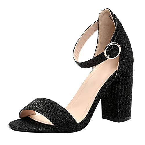 Sandalias con Hebilla Mujer Tacones de Fiesta de Verano Sandalias de Piel de Serpiente Zapatos de Vestir Elegantes de Moda TacóN 9.5cm Tacones de Bloque Sandalias de Punta Abierta Casual Negro