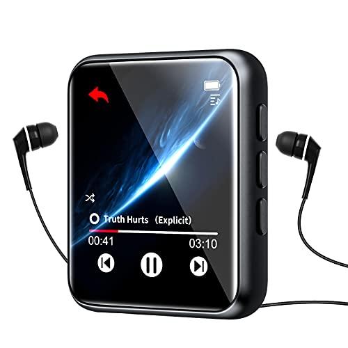 Lettore MP3 con Bluetooth 5.0, 16 GB Lettori MP3 de 1.8 Pollici Full Touch Schermo, Lossless HiFi Sound Lettore di musica con Altoparlante, FM Radio, Registratore vocale, Ebook, Espandibile fino 128GB