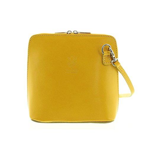 IO.IO.MIO Leder Schultertasche Damen Umhängetasche Handtasche klein & leicht gelb