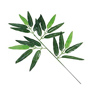 12pcs Artificial Green Bamboo Leaves Fake Green Plants Greenery Leaves for Home Office Hotel Decoration