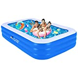 Aufblasbarer Pool Planschbecken für Kinder, Pool Rechteckig Großer Familienpool, Aufblasbare Schwimmbäder, Gartenpool für Erwachsene, Babys, Outdoor, Easy Set - 140cm x 96cm x 45cm