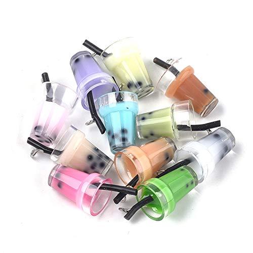 Craftdady 10 colgantes de cristal de té de burbujas de resina con taza de té de leche colgantes pendientes pendientes para DIY llavero joyería artesanía
