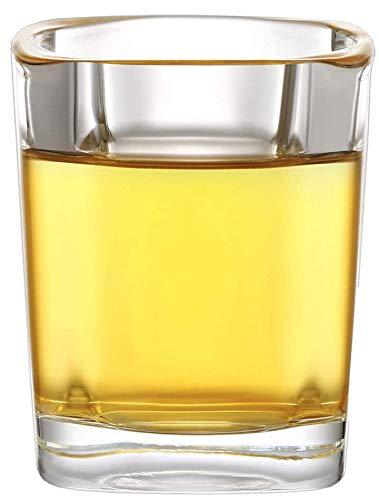 12 Vasos de Chupito de Cristal Cuadrados de 4 cl - Con Base Estable - Apto para Lavavajillas - Vasos para Tequila Vodka