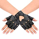 1Pair Women Heart Cutout Punk Half Finger PU Leather Gloves for Halloween Costumes, Dancing, Performance