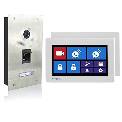 Fingerprint Video Türsprechanlage Gegensprechanlage mit 7″ Monitor, mit oder ohne WLAN Schnittstelle, Fischaugenkamera 170 Grad, Größe: 2x7'' Monitor