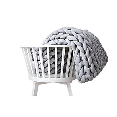 ACARPO Chunky Knit Blanket Handwoven Wool Yarn Knitting Throw Bed Sofa Super Warm Home Decor Grey 47 x71