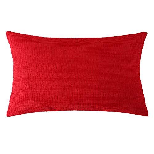 Vioaplem - Copricuscino Super Morbido in Velluto a Coste a Righe su Entrambi i Lati, Decorazione per Divano e Letto, Rosso, 12x20 (30x50cm) Pack of 1