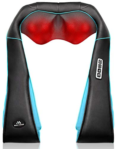 Back Neck Shoulder Massager with Heat - Deep Tissue Kneading Electric Back Massage for Neck, Back, Shoulder, Waist, Foot - Shiatsu Full Body Massage, Relax Gift for Her/Him/Friend/Dad/Mom