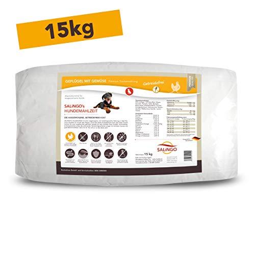 SALiNGO Hundefutter hochwertig und gesund trocken I Hunde Trockenfutter für Allergiker I Hundetrockenfutter Geflügel und Gemüse I Trocken Hundefutter 15 kg getreidefrei