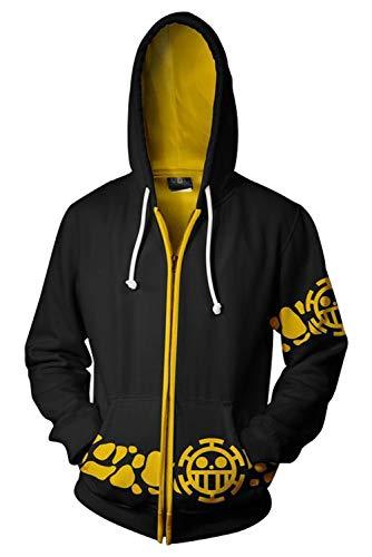 SUPERCOS 3D Printed Trafalgar Law Zip up Hoodie Sweatshirt Long Sleeve Jacket Anime Cosplay Costume Black