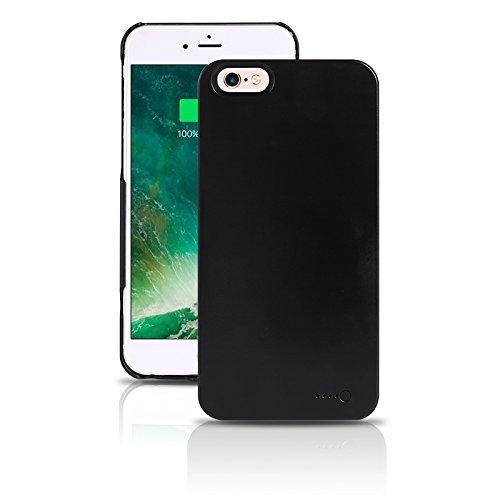 Funda de protección de batería móvil ultraligera para iPhone 6 Plus/6S Plus - Funda de batería inalámbrica y recargable - Negro