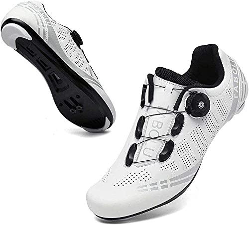 KUXUAN Zapatillas de Ciclismo Rode para Hombre Zapatillas de Ciclismo para Bicicleta Estática de Interior para Mujer con Tacos Delta SPD SPD-SL Compatibles,White-42EU