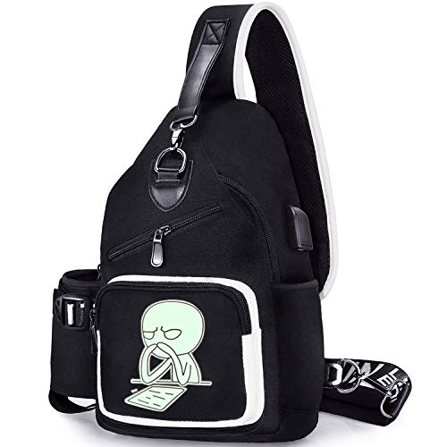 Sling Bag for 13-21 Year Old Boys, Small School Shoulder Backpack Chest Pack with Side Pocket (Study)