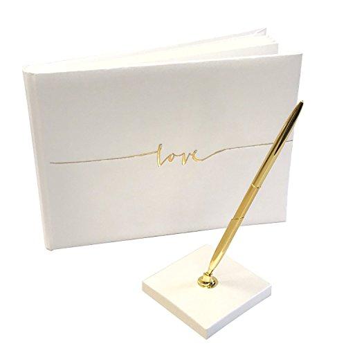 KATINGA Gästebuch Golden Love mit Kugelschreiber - ca. 24x18,5cm, cremefarben (Gold)