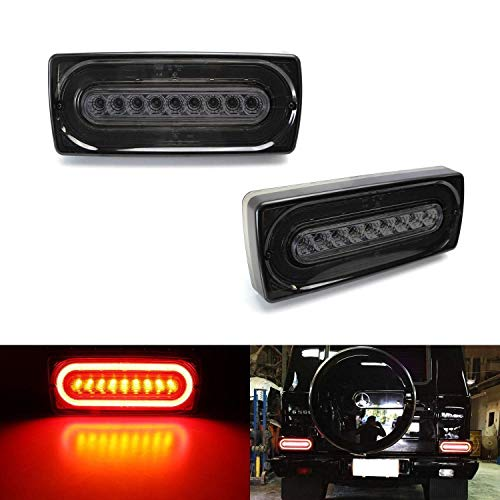 iJDMTOY Smoked Lens Laser Style Full LED Turn Signal Light Tail Lamps Compatible With 1999-18 Mercedes W463 G-Class G500 G550 G55 G63 AMG (2019 G Design)