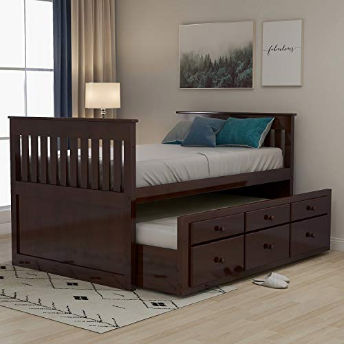 Rhomtree Storage Twin Daybed with Trundle and 3 Storage Drawers Platform Bed Frame with Headboard...