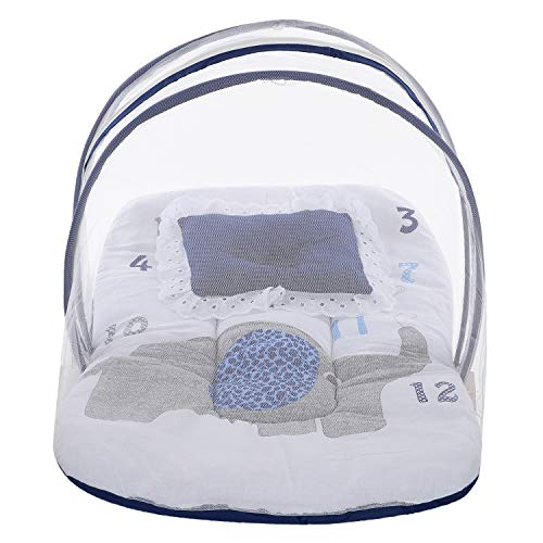 Superminis Multicolor Digital Elephant Print On White Base Design Bedding Set Thick Base, Foldable Mattress, Colorful Frill Pillow and Both Side Zip Closure Mosquito Net (0-12 Months, Blue)