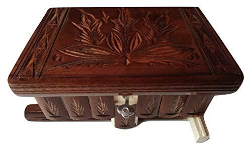 Nueva hermosa caja mágica, misteriosa caja, puzzle caja, caja secreta, hecha a mano, casilla complicado, caja de madera tallada, regalo perfecto, juguete de madera (Chocolate Marrón)