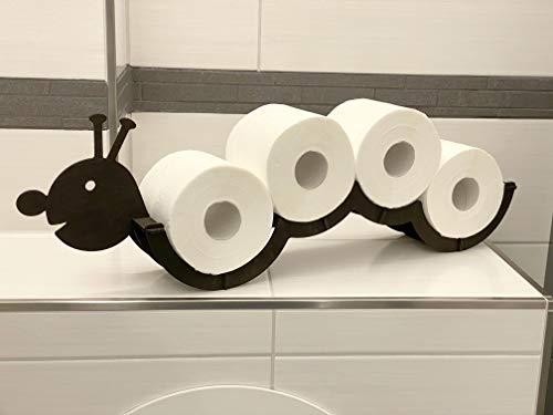 DanDiBo Toilettenpapierhalter Holz Schwarz Raupe Klopapierhalter Wand WC Rollenhalter Ersatzrollenhalter