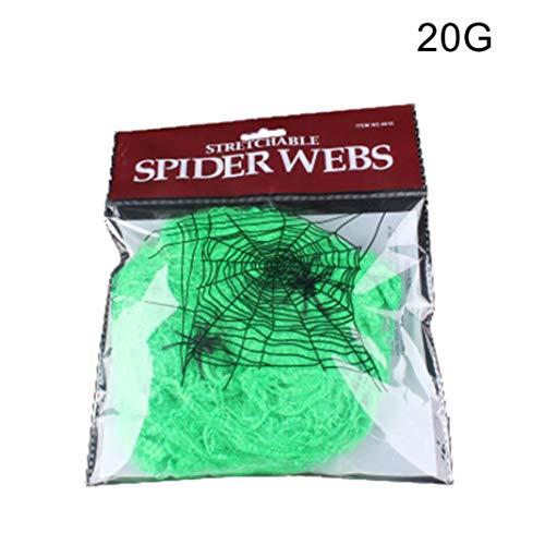 Steellwingsf realistische Dehnbare Spinnnetz Spinnnetz Halloween Party Requisiten Haunted Haus Dekor - grün 20g