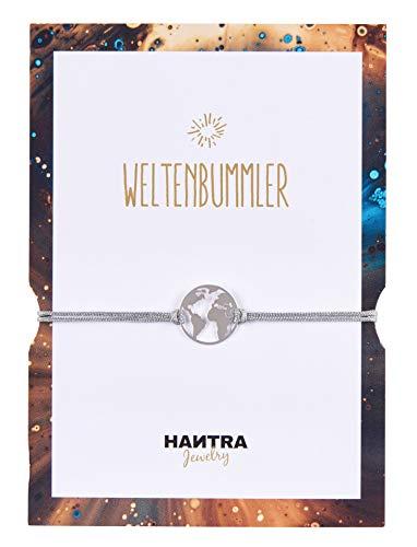 HANTRA Weltkugel Armband Damen als Reiseglücksbringer mit echtem 925er Sterling (Silber) - handgefertigtes Geschenk für Vielreisende - Dankeschön Geschenke geliefert in edlem Geschenkumschlag
