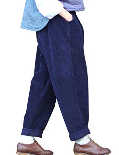 Youlee Frauen-elastische Taille Corduroy Hose mit Taschen Marine Einheitsgröße
