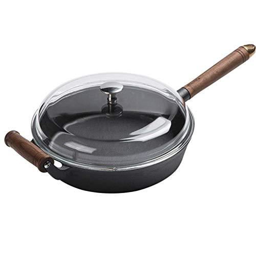 WCJ Koekenpan Nonstick Saute Pan, Koekenpan met Deksel, Inductie Compatibel, Vaatwasserbestendig, Oven Veilig, Multi-Functie Skillet (met Glas Cover), Zwart
