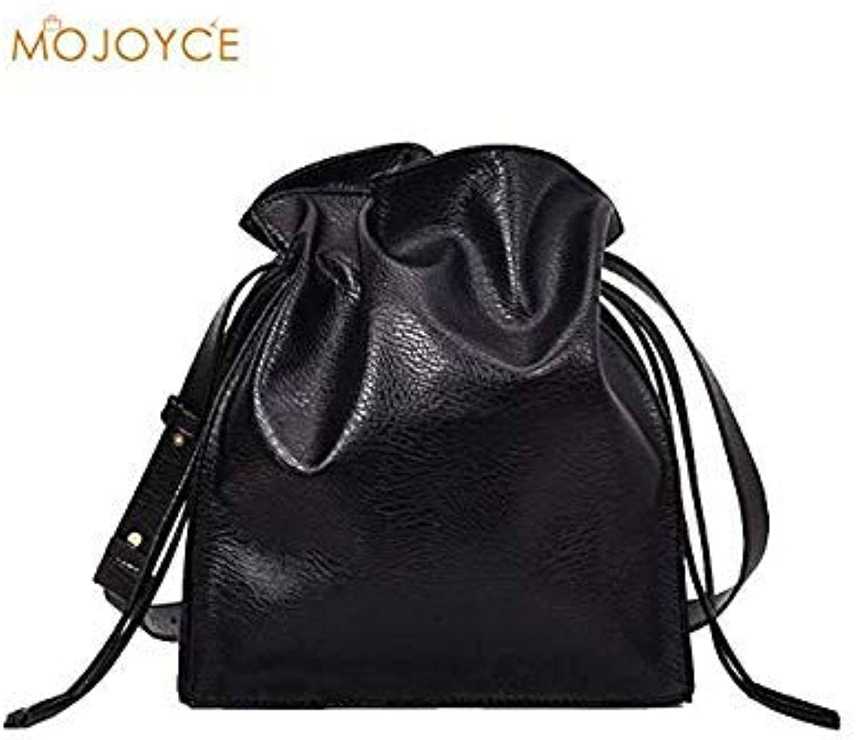 Bloomerang Women Large Capacity Drawstring Soft PU Leather Bucket Bag Summer Shoulder Bags Shopping Purse Handbag Travel Bag for Vacation color Black